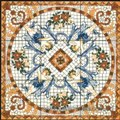 ceramic floor tile with flora pattern